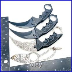 2 Damascus Knife and 2 Other Karambit Knife Fixed Blade with Sheath