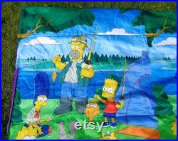 90s 2000s Vintage Retro Modern Kids Cartoons The Simpsons Bart Camping Sleeping Bag Blanket Bedding Throws Quilt Afghan Linens Home Living