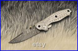 Amazing Hand Made Damascus Steel Folding Knife Pocket Knife with Liner Lock Christmas Gift Anniversary Gift Birthday Gift