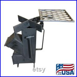 American Made Camping Survival Rocket Stove (With 8 in Cast iron Skillet and Rotating Grill Top)