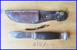 Antique Clauss Fixed Blade Knife and Sheath