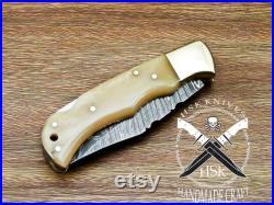 Beautiful Custom Handmade Damascus Steel Back Lock Folding Knife,camel Bone handle with leather pouch .
