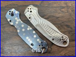 Blue-Silver v1 HONEYCOMB heat anodized Titanium Knife Scales for Para 3 Spyderco Para Military 3 Pocket knife EDC MetonBoss Fathers Day Gift