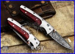 Bmk-1013 Hephaestus 7.5 Long Damascus Pocket Knives Titanium Handle with paddock wood and A grade green ruby , Diamond