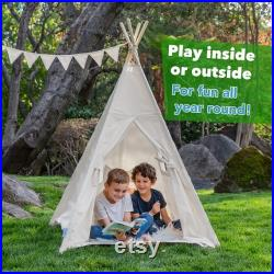 Canicove Teepee Tent for Kids Award Winning 100 Cotton Play Tent Large Indoor Outdoor Tipi for Boys and Girls Free Fun Flags (White)