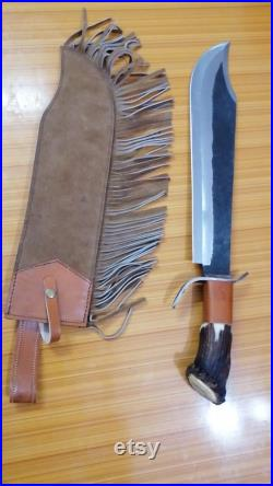 Custom Handmade Carbon Steel 27 Inches Big Bowie Hunting Knive With Stag Horn Handle And Unique Leather Sheath