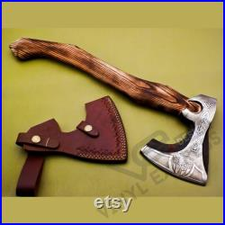 Custom Handmade Carbon Steel Viking Axe with Rose Wood Handle, Viking Bearded Camping Axe, Best Birthday and Anniversary Gift For Him