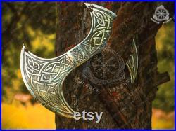 Custom Handmade Carbon Steel axe Medieval Warrior axe Large Decorative Double Headed axe War Battle. ASH Wood handle with leather sheath.