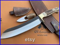 Custom Handmade D2 Steel Machete Skinner knife, forged knife, Camping, Bowie, Survival ,Hunting, Outdoor, Antler knife QR-A95