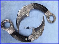 Custom Handmade D2 steel Pair of Karambit Knife, Hand Engraved, camping knife, outdoor knife, Engraved knife, gift for men,