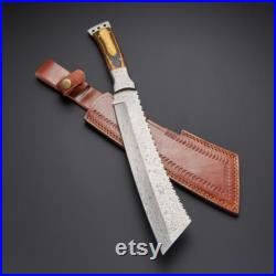 Custom Handmade Damascus Steel Fixed Blade Machete Hunting Knife bowie knife With Leather Sheath with paka wood handle fathers day gift