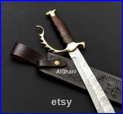 Custom Handmade Damascus Steel Sword, Fixed blade 18