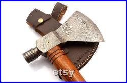 Custom Handmade Damascus Steel Tomahawk Axe Viking Hunting CAMPING AXE Vantage AXE Battle with Beautiful Desing Wood Handle Leather Sheath