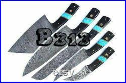 Custom Handmade Damascus Steel kitchen knives set chef knife set knife set leather bag gift Christmas Sale