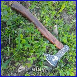 Custom Handmade New style Steel Viking Axe, Hand Engraved On Carbon Steel, Best Woodsman Axe, Hand Forged Axe, With Leather Sheath