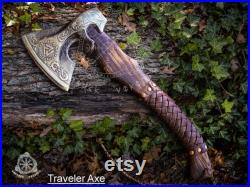 Custom Made Gift Forged Carbon Steel Viking Axe with Wood Shaft, Viking Bearded Camping Axe, Best Birthday, Anniversary Gift For Him