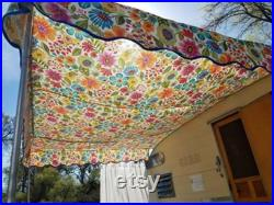 Custom camper awning, your choice of fabric, matching trim on scallops. 10x8