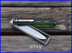 Custom folding folder EDC knife Pocket Stalker . Utility bright EDC gear with a spearpoint blade. engraved handle. made in Russia