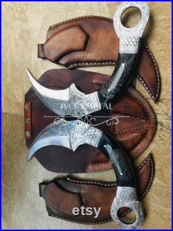 Custom handmade D2 tool steel Pair of Karambit knife with bull horn hand engraved handle and blade 'ivorymetal'