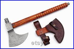 Custom handmade Damascus Steel Axe Tomahawk Pipe Axe Hatchet Axe With Leather Sheath Rose Wood Handle
