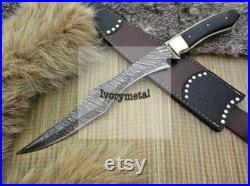 Custom handmade Damascus steel Bowie knife 18 with Beautiful Handle 'ivorymetal'
