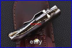 Custom pocket knife, Damascus Pocket knife, Survival knife, Hand forged Knife, Camping knife, Leather Knife Sheath, Groomsmen Gift