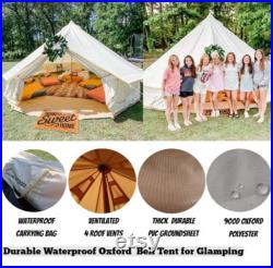 DANCHEL OUTDOOR 4 Season Oxford Glamping Tent, Waterproof Yurt Tent Bell Tent for Camping White