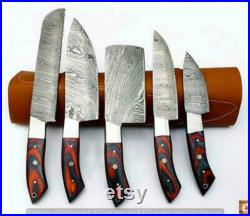 Damascus Chef Knife Set chef knife set knife set leather bag gift Christmas gift, gift for women, bar b q knife, BBQ knife.