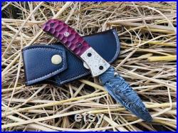 Damascus Folding Knife Handmade Damascus Steel Liner Lock Pocket Knife for Men Women Groomsmen Gift Camping Knife Gift for Him EDC Knife
