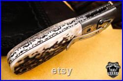 Damascus Folding knife handmade Bmk-445, Unique pocket knife, Anniversary gift for man, birthday gift for him, wedding gift husband, gift
