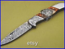 Damascus Handmade Eagle Pocket Knife Damascus Folding Knife Wood and Bone handle