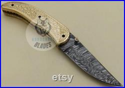 Damascus Knife Custom Handmade Pocket Folding Knife 08.00 inches BRASS Handle Beautiful Liner Lock Fire Storm Pattern with Leather Sheath