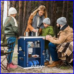 Eagle Peak Outdoor Camping Pop Up Folding Table with Large 3-Tier Storage Organizer and Side Pockets