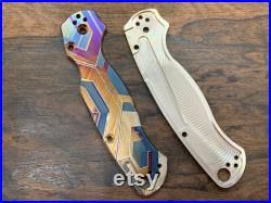 FALCON heat anodized Titanium Knife Scales for Para 2 PM2 Spyderco Para Military 2 Folding Knife scales EDC gear MetonBoss Every Day Carry