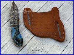 FLAMBO Damascus Steel Folding Gift Knife Groomsmen Gift Holiday Gift Pocket Folding Knife Flamed Camel Bone Engraved Handle 8 inch knife