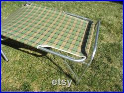 Folding Cot Aluminum Canvas Green Large Vintage