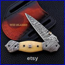 Hand Crafted Damascus Steel Dagger Blade Folding Knife Natural Bone Handle Genuine Beautiful Leather Butter-Fly Pouch Cover