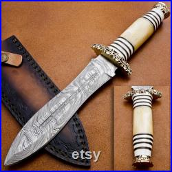 Handmade Damascus Dagger Knife ,Hand Forged Knife, Bone and Brass Handle with Handcrafted Leather Sheath, Collectable Knife