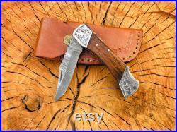Handmade Damascus Pocket Knife Folding Knife For Men Gift For Father Camping Knife Pocket Knife For Women Gift For Fiancé Gift for Wife