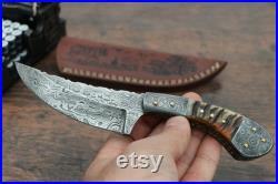 Handmade Damascus Steel Skinner Knife Sheep Horn Handle Hunting knife brass ball pins, Hand forged Damascus skinner knife, Skinner
