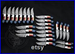 Handmade Forged Damascus Steel Bowie Hunting Knife Taxes Flag USA Size 8 Knife with Leather sheath 25-Pieces 100 Handcrafted for Retailers