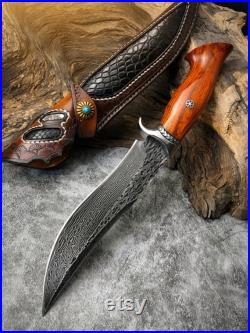 Handmade Hunting Knife Damascus Steel Fixed Blade Knife Leather Sheath Dalbergia Wood Handle Outdoor Survival Camping Tool