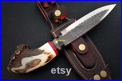 Handmade Knife, Hunting Knife with Leather Sheath, Camping Knife, Jungle Knife, Christmas gift Anniversary gift Gift for him