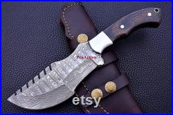 Handmade Tracker Knife with Leather Knife Sheath, Hunting Damascus Knife, Hand forged Knife, Gift for men, Groomsmen Gift, Father's day gift