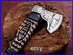 Handmade Viking Axe,Vikings Norseman Custom Forged Carbon Steel Viking Axe Tomahawk, , Viking Camping Axe