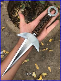 KUNAI REPLICA, Handmade Spring Steel 13 Inches Kunai, Engraved Rose Wood Handle Dagger Knife, Birthday Gift, Personalized Gift