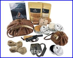 Leather Tinder Pouch Fire Kit Fire Starting, Bushcraft, Camping, Survival, Traditional Gift Set Artisan Edition Made in Britain