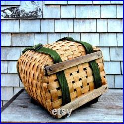 Maine Trapper Basket Adirondack Pack Basket Canoe Storage Basket Camp Cabin Lodge Decor Rustic Primitive French Country Splint Oak Backpack