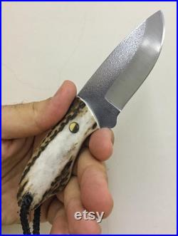 Mini Bushcraft Knife N690 Steel Stag Horn Handle Blacksmith Made Camping Knife Hunting Knife Survival Knife with Sheath No 23
