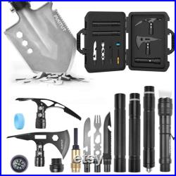 Multifunctional Folding Shovel Outdoor Camping Survival Tool Sets Axe Pickaxe Tactical Knife Fire Starter Whistle kit